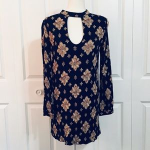 Francesca's Collections Navy Floral Tunic Dress